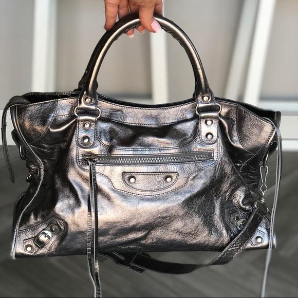 72473aebe2c Balenciaga Handbags - RARE 05 BALENCIAGA Silver Pewter Metallic City Bag